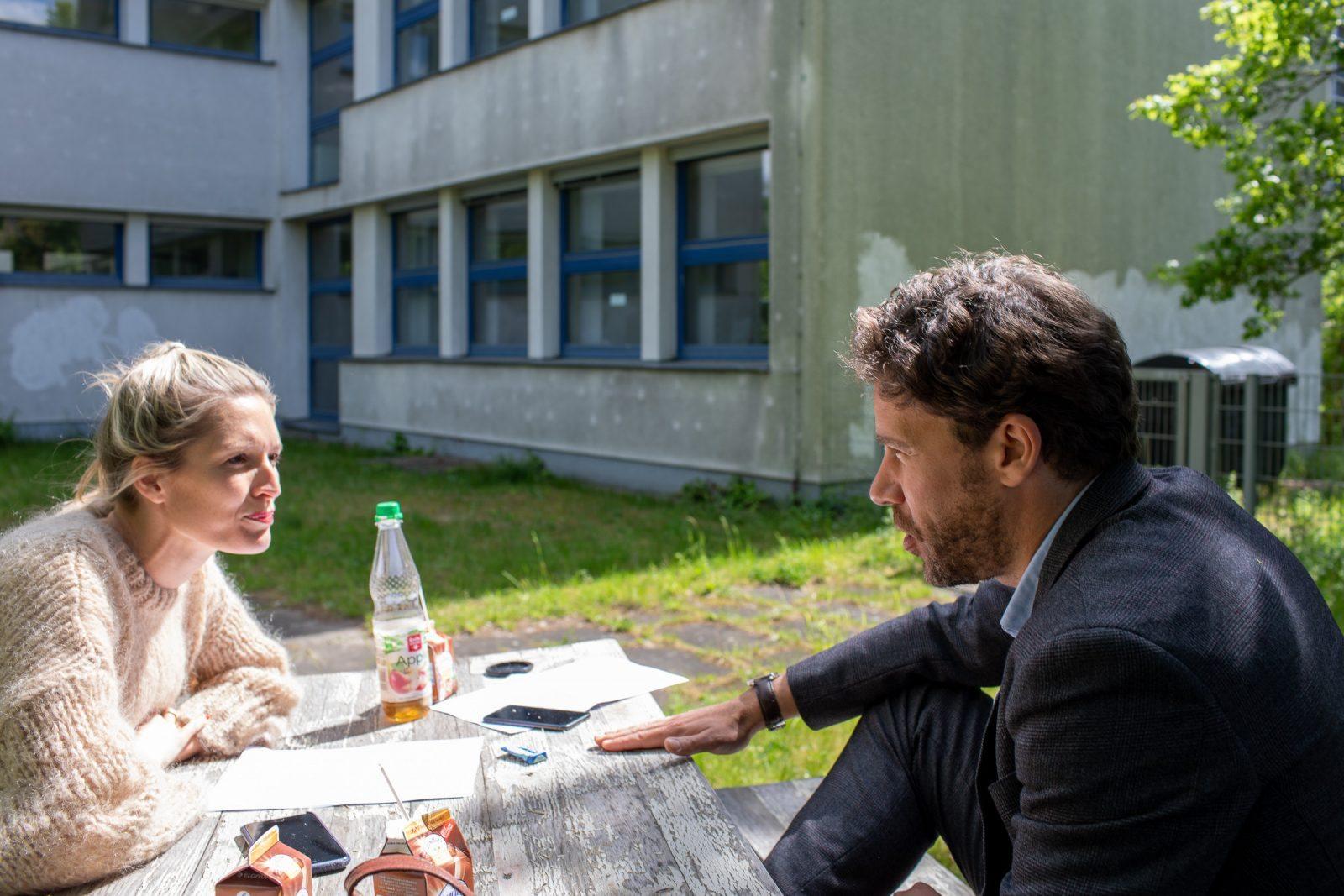 Interview im Schulhof